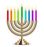 Illustratie van gouden Chanoeka menorah Royalty-vrije Stock Afbeeldingen