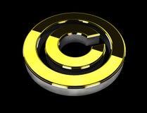 Illustratie van gouden Copyright-symbool op zwarte achtergrond Royalty-vrije Stock Afbeelding