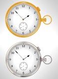 Illustratie van gouden en zilveren zakhorloges Stock Foto