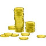 Illustratie van gouden muntstukken Stock Fotografie
