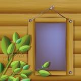 Illustratie van grijze plank met houten kader Stock Fotografie