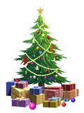 Illustratie van groene Kerstboom over witte achtergrond Stock Afbeeldingen