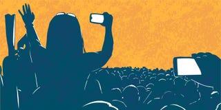 Illustratie van grote menigte van jongeren bij levend de partijfestival van de muziekgebeurtenis royalty-vrije illustratie