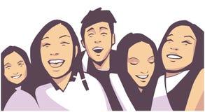 Illustratie van grote menigte van jongeren bij levend de partijfestival van de muziekgebeurtenis vector illustratie