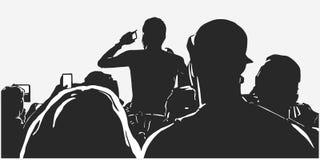 Illustratie van grote menigte van jongeren bij levend de partijfestival van de muziekgebeurtenis stock illustratie
