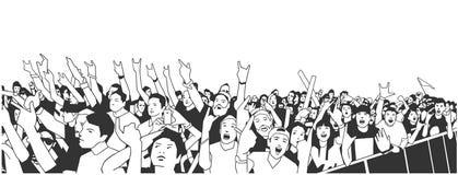 Illustratie van grote menigte van mensen die bij overleg met opgeheven handen toejuichen royalty-vrije illustratie