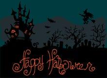 Illustratie van Halloween De begraafplaats dichtbij het kasteel Gelukkige Vakantie Stock Afbeelding