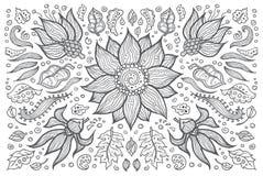Illustratie van hand getrokken uitstekende bloemen retro Royalty-vrije Stock Afbeelding