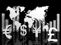Illustratie van handelsmunten rond de wereld Royalty-vrije Stock Fotografie