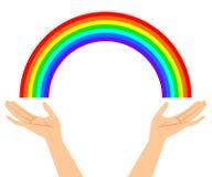 Illustratie van handen met regenboog Stock Foto's
