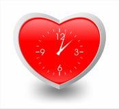 Illustratie van hart en klok stock illustratie