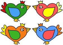 Illustratie van hart gevormde vogel in vier kleurenvariaties Stock Fotografie