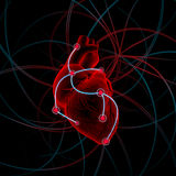 Illustratie van hart met impulsen Stock Afbeelding