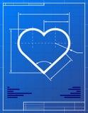 Illustratie van hart zoals blauwdruktekening Royalty-vrije Stock Afbeeldingen