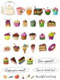 Illustratie van heerlijke mooie krabbel-stijl cakes stock illustratie