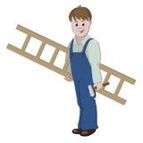 Illustratie van hersteller of arbeider die zich met een ladder en een hamer bevinden Royalty-vrije Stock Foto