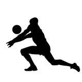 Illustratie van het abstracte silhouet van de volleyballspeler Stock Foto
