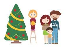Illustratie van het beeldverhaal de vlakke ontwerp van een familie bij een Kerstboom met giften Vader met moeder en met kinderen, stock afbeeldingen