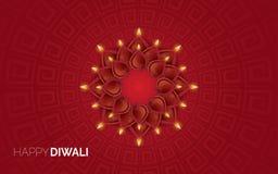 Illustratie van het branden diya op Gelukkige Diwali-Vakantieachtergrond royalty-vrije stock foto