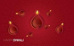 Illustratie van het branden diya op Gelukkige Diwali-Vakantieachtergrond royalty-vrije stock foto's
