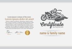 Illustratie van het certificaat van de motorclub Stock Afbeeldingen