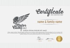 Illustratie van het certificaat van de motorclub Royalty-vrije Stock Afbeelding