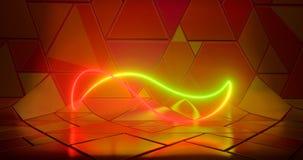 Illustratie van het 3D teruggeven Futuristische sc.i-FI Abstracte rode en groene neonlichtcijfers aangaande de achtergrond van ee stock illustratie