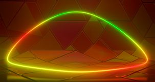 Illustratie van het 3D teruggeven Futuristische sc.i-FI Abstracte rode en groene neonlichtcijfers aangaande de achtergrond van ee royalty-vrije illustratie
