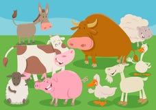 Illustratie van het de groepsbeeldverhaal van landbouwbedrijf de dierlijke karakters Stock Fotografie