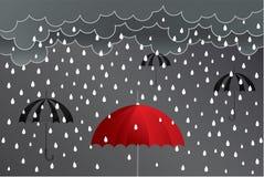 Illustratie van het de ideeënontwerp van de paraplu de rode regen op backgrou stock foto's