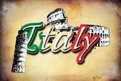 Illustratie van het de kunstontwerp van Italië Rome de uitstekende Royalty-vrije Stock Foto