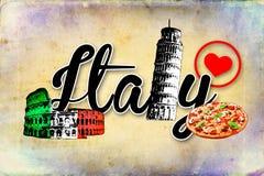 Illustratie van het de kunstontwerp van Italië Rome de uitstekende Stock Foto's
