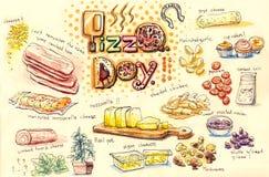 Illustratie van het de partijingrediënt van de pizza de eigengemaakte Royalty-vrije Stock Afbeelding