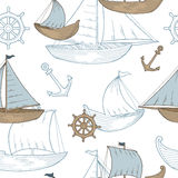 Illustratie van het de schets naadloze patroon van de boot de grafische blauwe bruine kleur Stock Afbeeldingen