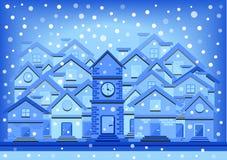 Illustratie van het de winter de vlakke ontwerp van huizen stock illustratie