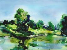 Illustratie van het de zomer de Groene landschap Stock Foto's