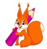 Illustratie van het eekhoorn de violette beeldverhaal Stock Afbeeldingen