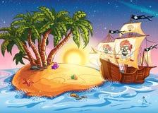 Illustratie van het eiland met een piraatschip Stock Afbeeldingen