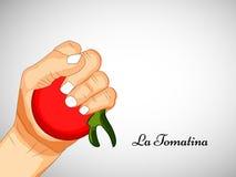 Illustratie van het festival van La Tomatina op de achtergrond van Spanje Royalty-vrije Stock Afbeelding