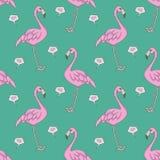 Illustratie van het flamingo omputer de grafische naadloze patroon met roze exotische vogels en harten op wintertalingsachtergron royalty-vrije illustratie