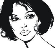 Illustratie van het gezicht van een mooie vrouw royalty-vrije illustratie