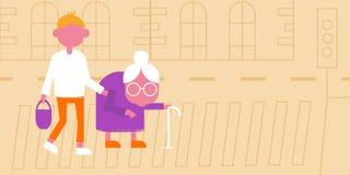 Illustratie van het helpen van een oude dame royalty-vrije illustratie