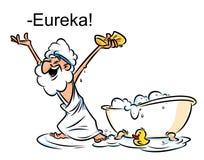 Illustratie van het het badbeeldverhaal van Archimedes Eureka de zwemmende Stock Afbeeldingen