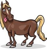 Illustratie van het het landbouwbedrijf de dierlijke beeldverhaal van het paard Stock Afbeelding