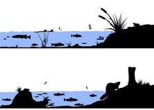 Illustratie van het het levens de vectorsilhouet van de rivier Stock Afbeeldingen