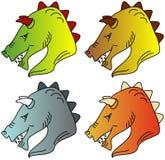 Illustratie van het hoofd van een draak in vier kleurenvariaties Royalty-vrije Stock Foto's