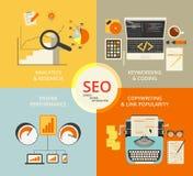 Illustratie van het Infographic de vlakke concept van SEO Royalty-vrije Stock Foto's