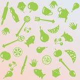 Illustratie van het koken dingen en voedsel Stock Afbeeldingen