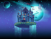 Illustratie van het luchtruim van het kasteel met een brug op de achtergrond van de planeten Stock Foto