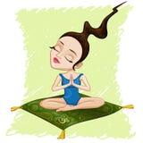 Illustratie van het mediteren van meisje Royalty-vrije Stock Afbeeldingen